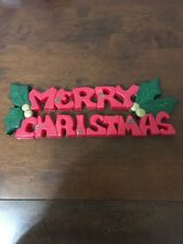 Vintage Hard Plastic Merry Christmas Sign W/Holly Berries