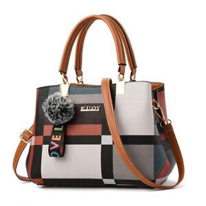 Damen Frau PU Leder Handtasche Schulter Nachrichtentasche Einkaufstasche