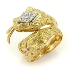 Estate Diamond Coiled Snake 10mm Wide Wrap 18K Yellow Gold Ring - Size 6.5