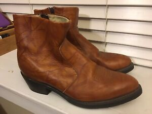 Durango Style TR824 Men's Brown Leather Side Zip Western Ankle Boots Size 12EE