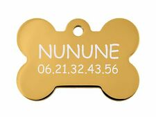 medaille gravee chien ou chat - modele petit os nunune - or