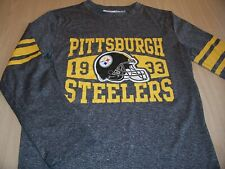 NFL PITTSBURGH STEELERS LONG SLEEVE GRAY T-SHIRT BOYS LARGE 14-16 EXCELLENT