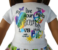 "LIVE YOUR DREAMS Peace T-Shirt for 18"" American Girl Doll Clothes"