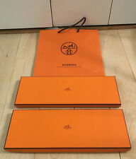 Lot of 2 HERMES Empty Orange Scarf Tie Boxes Storage Gift Boxes w/ Shopping Bag