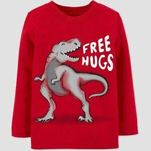 Carter's 4T Dinosaur T-Rex Free Hugs Long Sleeve Shirt Red