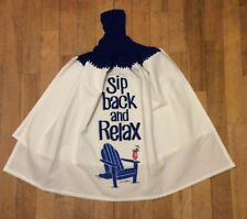 Sip Back And Relax Whole Kitchen Flour Sack Towel - Adirondack Beach Summer