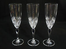 "Cut Crystal Fluted Champagne Glasses With Blue Tear Drop Stems 8-1/4"" Set of 3"