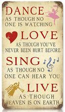 Vintage Dance Love Sing Live Metal Sign Inspirational Home Wall Decor V634