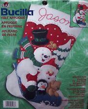 "Bucilla Santa & Frosty ""WINTER FUN"" Felt Christmas Stocking Kit OOP Sterilized"