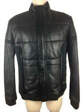 Hugo BOSS GREEN Jevons Leather Bomber Jacket Biker Genuine Authentic Black 2XL