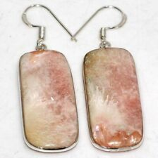 "2"" Gift for Her Gw Scolecite 925 Sterling Silver Plated Earrings"