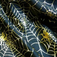 Black Satin Halloween Fabric with Gold Foil Spider Webs (Per Metre)