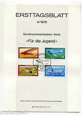 ALLEMAGNE BERLIN 1979, AVIONS, BALLON, 4 timbres, 552/555, DOCUMENT 1° JOUR