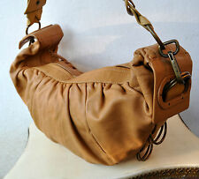 MIMCO X-Large Camel Tan Leather Handbag Hobo Cross-Body Bag Extendable Strap