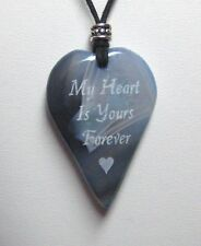 PERSONALIZED Blue Agate Heart Pendant Necklace 45x30mm