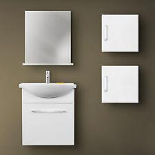 Mobile bagno salva spazio 60 cm bianco lucido con 2 pensili specchiera e mensola