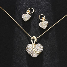 Women Silver Gold Heart Crystal Rhinestone Plated Necklace Earring Jewelry Set