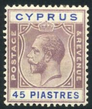Cyprus 1924-28 45pi GV MINT Hinged SG 116 Cat £65.00 ($84)