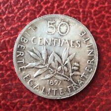 France -  Magnifique et très Rare monnaie de  50 Centimes Semeuse 1897