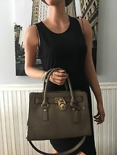 NWT Michael Kors Hamilton East West Satchel Saffiano Leather Dark Dune $298