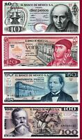MEXICO UNC Notes 10 Ps '77 (P63), 20 Ps '77 (P63), 50 Ps '81 (P73) & 100 Ps P-74
