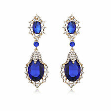 Blue Statement Tear Drop 18K Gold Plated Cocktail Bridal Party Earring