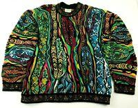 COOGI Sweater Vtg 90s Multi Color Retro Hip Hop Cosby Authentic Australia SZ XL
