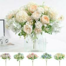 Roses Artificial Peony Fake Silk Flowers Bridal Wedding Bouquet Party Home Decor