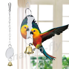 Parrot Chew Bite Bell Mirror Play Toys Swing Pet Birds Parakeet Cage Hanging Toy