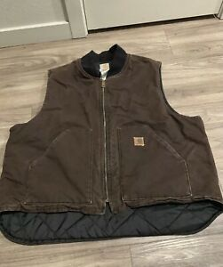 Carhartt Men's Vest Full Zip Quilted Lining Cotton 2XL Work