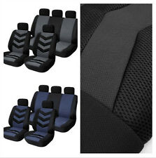 9pcs Sports Auto  Car Seat Covers Full Front Seats Mat Pad Protector Gray Blue