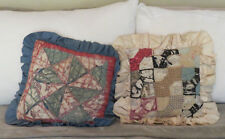 Primitive Country Throw Pillows 11 X 11 Multi-color patchwork quilt Rustic Cabin