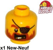 Lego 1x minifig tête head homme man pirate bandeau oeil dent or 3626cpb1304 NEUF