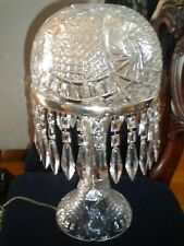 American Brilliant Style Large Crystal Table Lamp Mushroom Top Czech Crystal