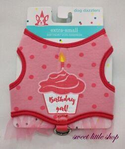Dog Dazzlers Pink Birthday Girl Cupcake Dog Harness Tulle Size XS Small Medium
