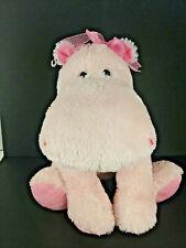 "Russ Berrie Pink Hippo Plush Animal ""Darly"" Hippopotamus Stuffed Animal Toy EUC"