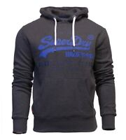 Superdry New Mens Overhead Hoodie Long Sleeve Sweatshirt Shop Duo Charcoal Grey