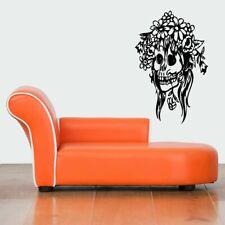 FLORAL SKULL Wall Art Vinyl Sticker Decal Mural, skeleton tattoo decor #600