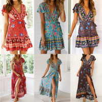 Women Short Sleeve Wrap V Neck Floral Beach Maxi Bohemian Mini long Dress US
