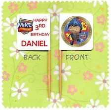 20 PERSONALISED MIKE THE KNIGHT CUP CAKE FLAG Party Topper Decoration Birthday