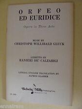 Opera Libretto Orfeo Ed Euridice by Gluck, De'Calzabigi 1975  Italian / English