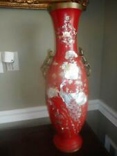 "Antique/ vtg Korea 25"" red lacquer & MOP & abalone bird butterflies fowers vase"