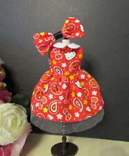 Blythe Doll Outfit cat Print REd Dress