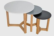 High Gloss Scandinavian Nest of Tables In Grey,White & Black Modern Contemporary