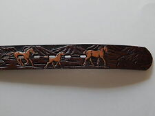 "WRANGLER 27"" Waist Brown Leather Mexico Horses Belt"