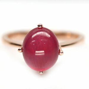 NATURAL 9 X 11 mm. RED RUBY 925 STERLING SILVER RING SZ 9