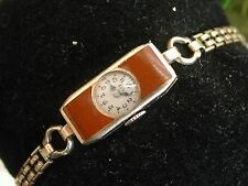 1920's Ladies Art Deco Brown Enamel Elgin Watch~ Runs