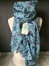 ENGLISH GARDEN FLOWER & BUTTERFLY BLUE SCARF SISTER PRESENT MOTHERS DAY GIFT