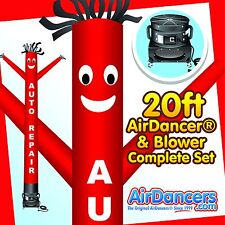 Red Auto Repair Air Dancer ® & Blower 20ft Dancing Tube Man Sky Dancer Set