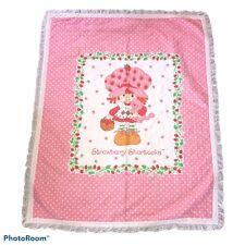 Strawberry Shortcake Throw Blanket Pink Eyelet Trim 45� x 36�